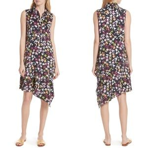 EQUIPMENT Tira Asymmetrical Floral Silk Dress